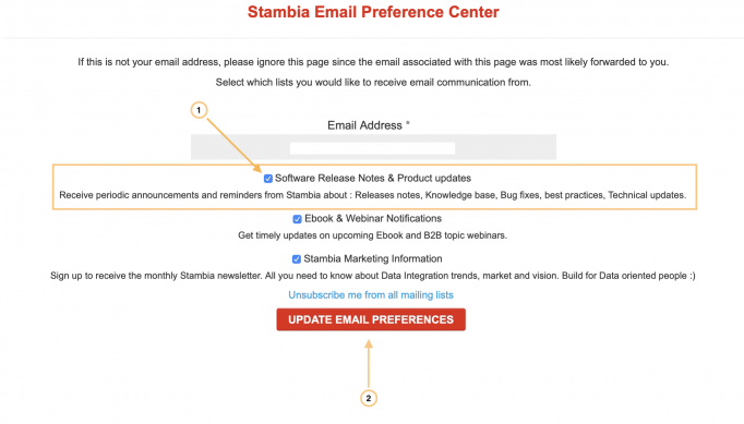 stambia email preferences control center